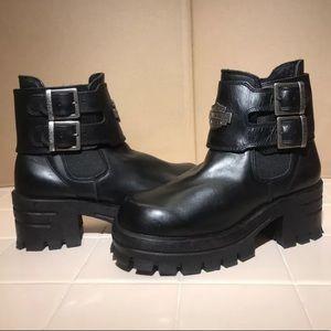 Black leather platform Harley Davidson boots RARE